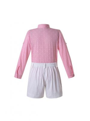 Boys Pink Top + White Shorts