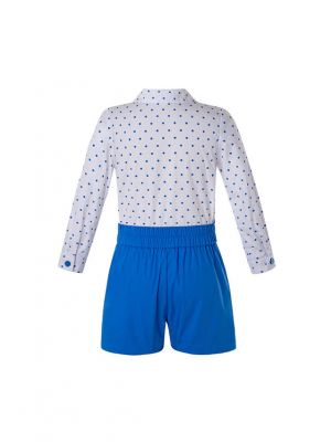 New Clothing Set For Boys White Dot Top + Navy White Wave Shorts