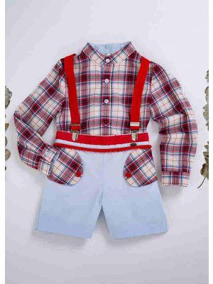 Boy's Autumn Suit Plaid Shirt + Strap Shorts