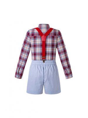Boys Autumn Clothing Suit Plaid top + Shorts
