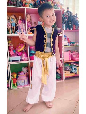 Boys Clothing Set Purple and White Kids Costume Aladdin Cosplay Clothes