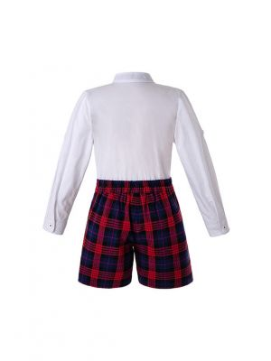 Christmas Autumn Boys Clothing Sets White Shirt + Red Grid Shorts