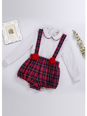 Party Boys Clothing Set White Polka Dot Shirt + Red Grid Strap Shorts