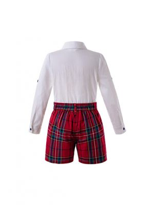 Red  Boys Button Clothing Sets Embroidery White Shirt +  Red Grid Shorts