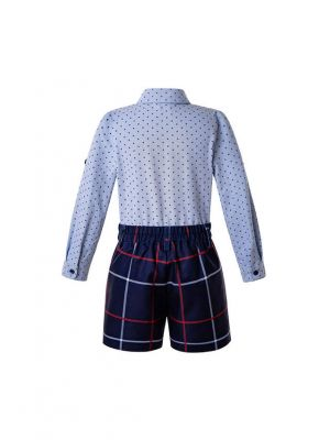 Blue Boys Button Kids Clothes Outfit Blue Shirt + Grid Shorts