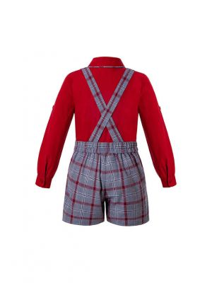 Party Boutique Kids Boys Clothing Sets Red Shirt + Grey Grid Suspenders Shorts