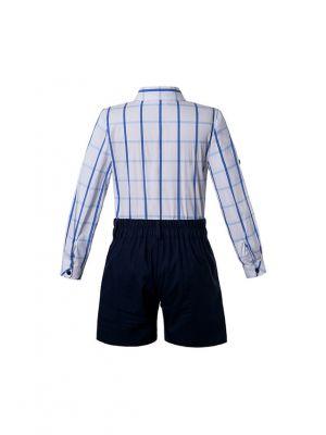 Boutique Summer Boys Clothing Sets Blue Grid Shirt + Black Shorts
