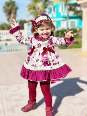 (Only 10Y)Flower Printed Girl Red Dress With Headwear