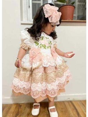 2021 New Luxury Dress Excellent Lace Bowknot Embroidered Puff Sleeve