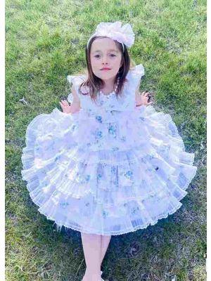 Summer Girls Light Pink V-neck Dress with Blue Flower Patterns Lace Bows + Handmade Headband