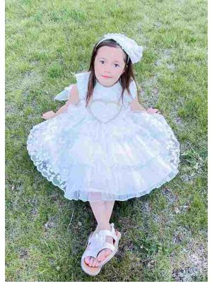 (ONLY 4Y) Princess White Lace Yarn Flower Heart Embroidery Bow Dress with Matching Headband