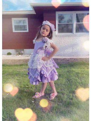 Purple Noble Ruffle Printed Flower Feather Ornament Princess Dress + Handmade Headband