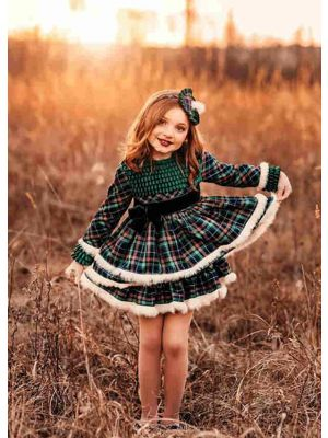 Girls Gorgeous Green Check Fluff Layered Autumn Dress + Handmade Headband