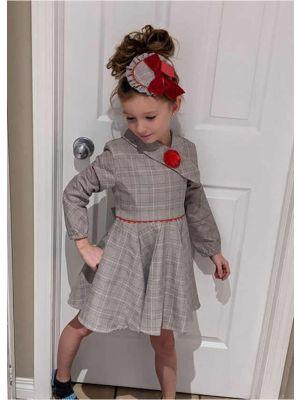 Girls Vintage Grey Tartan Asymmetrical Boutique Kids Dress With Red Flower + Hand Headband
