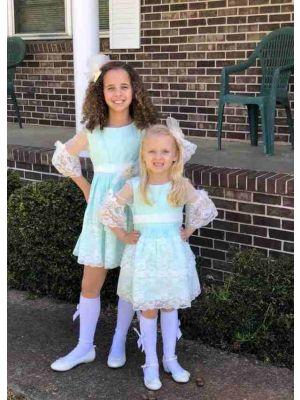 2021 New Sweet Spring Light Green Half Sleeve Lace A-Line Girls Dress