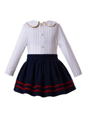 Striped England Style Clothing Sets Blouse + Royal Blue Skirt