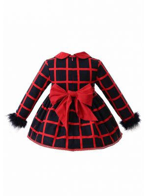 (Only 6-9M  9-12M )Red Turn down Collar Babies Clothing Set +Bloomers + Bonnet