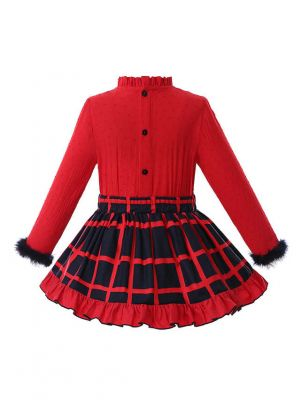 Red Plaid Girl Clothing Sets