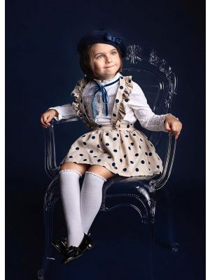 Girls Long Sleeve White Blouse With Blue Dot Khaki Skirt