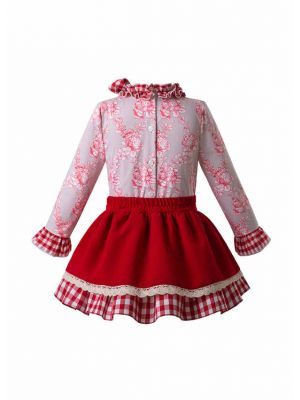 Vintage Red Flower Clothing sets
