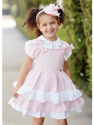 3 pieces Girls Pink Clothing Set White Blouse + Pink Layered Dress + Handmade Headband