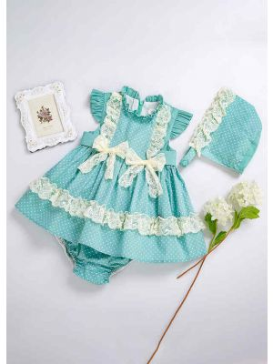 3 Pieces Baby Lace Bows Mint Green Dress + Bloomers + Bonnet