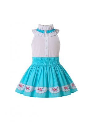 Classical Girls Outfits Irregular Collar White Shirt and Blue Print Skirt + Headband