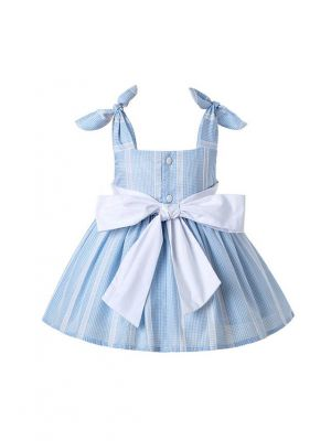 3 Pieces Cute Bows Babies Matched Flower Princess Outfits + Light Blue Bloomers + Hat