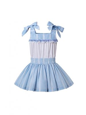 Summer Blue Matched Flower Girls Reffle Dress + Hand Headband