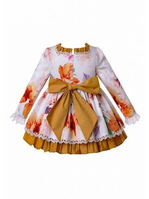 3 Pieces Of 3D Three-Dimensional Printed Cotton Babies Autumn Dress + Bonnet