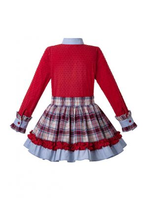 3 Pieces Girl Autumn Red Cut-Flower Top + Plaid Skirt + Handmade Headwear
