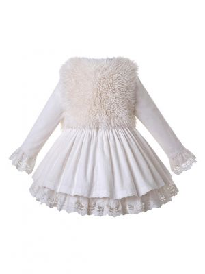 3 Pieces White Lace Corduroy Cotton Girls Autumn Suit Dress + Hairless Wool Vest + Handmade Headwear