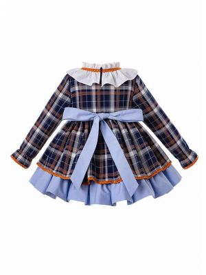 3 Pieces Babies Christmas  Blue Grid Autumn Dress + Bloomers + Hat