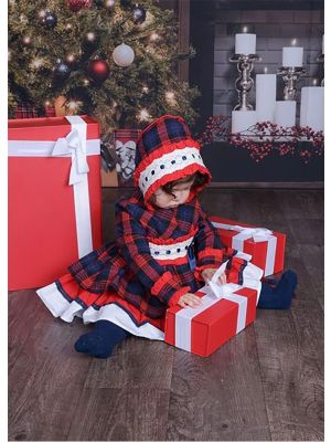 3 Pieces Christmas Babies Princess Party Kids Red Grid Dress + Bloomers + Bonnet