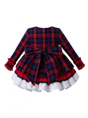 3 Pieces Christmas Babies Princess Party Kids Red Grid Dress + Bloomers + Bonnet