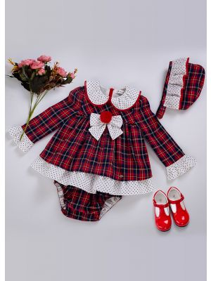3 Pieces Babies Red Babies Doll Collar Grid Dress + Bloomers + Bonnet