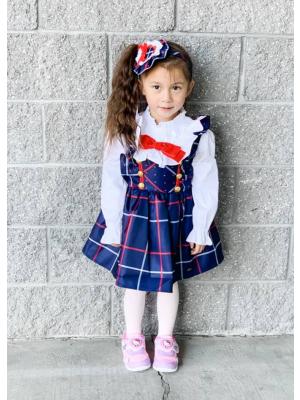 Bow Blue Grid Suspender Girl Dress + White Blouse + Hand Headband