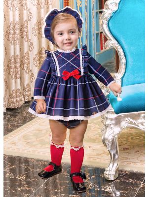 3 Pieces Autumn Babies Blue Ruffle Grid Bow Infant  Dress +  Bloomers + Bonnet