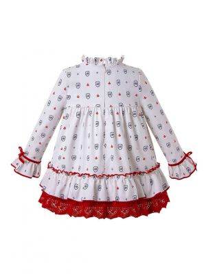 3 Pieces Autumn White Print Kids Babies With Red Bow Dress + Bloomers + Hat