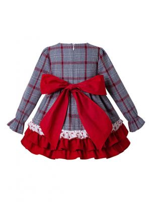 3 Pieces Autumn Christmas Ruffle Babies Party Layered  Dress + Bloomers + Hat