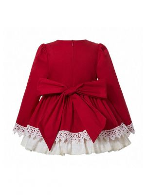(Pre-sale Products) 3 Pieces Babies Christmas Girls Red Lace Appliques Princess Dress With Brown Vintage Bow + Bloomers + Hat