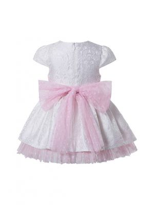 3 Pieces Baby Girls Sweet Ruffles With Pink Bows White Outfit + Bloomers + Hat