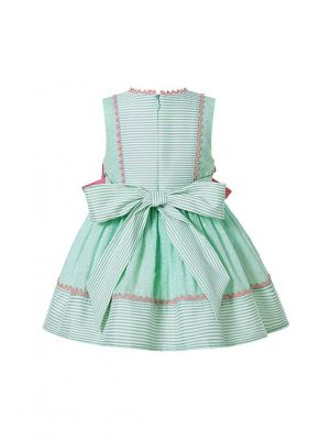 (Pre-sale Products) 3 Pieces Babies Mint Green Boutique Preppy Style Outfit With Bows + Cute Bloomers + Hat