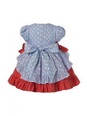 3 Pieces Babies Dot Layers Embroidery England Style Outfit + Cute Bloomers + Hat