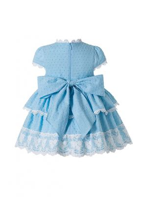 3 Pieces Baby Girls Blue Ruffled Layers Flowers ornament Dresss + Cute Bloomers + Hat