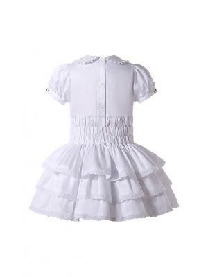 Girls Summer 2-Piece Short Sleeve T-shirt + Big Bow White Three-Layer Skirt