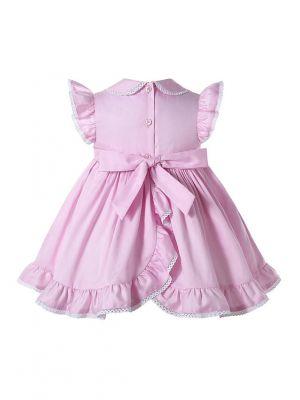 Cute Baby Girl's Pink Smocked Dress + Shorts