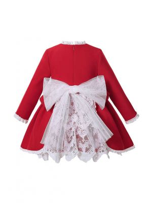 Sweet Babies Red Ruffle Lace Dress With Ribbon Bows + Bonnet + Bloomers