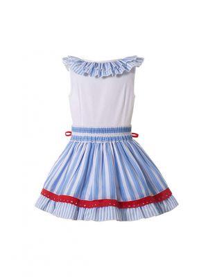 Girls Blue Red White Ruffled Striped Hem Dress + Handmade Headband