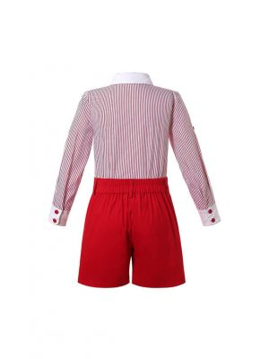 Boys 2-Piece Set Long Sleeve Red Striped Shirt + Red Shorts